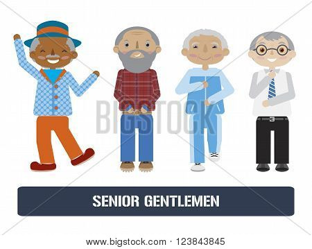 Set of senior citizens. Flat cartoon vector. Elderly men collection. Different activities.