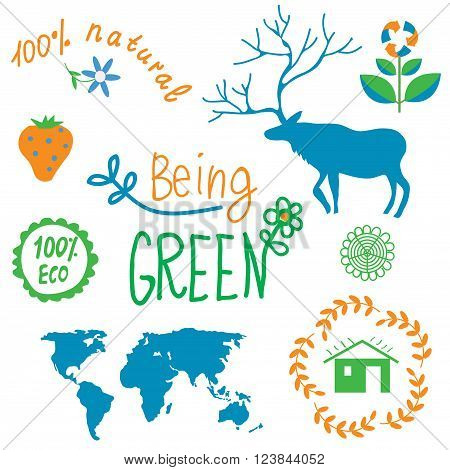 Ecology symbols and nature elements set - vector illustration