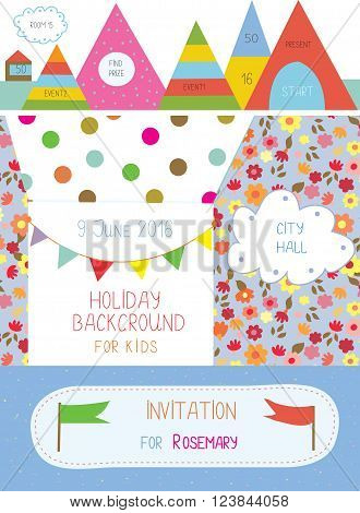 Invitation or banner for kids holiday - cute design of vector illustration