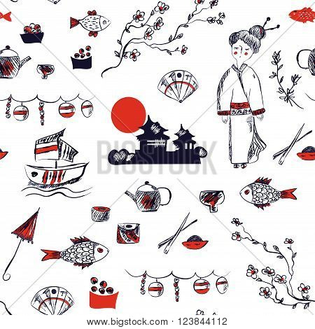 Japan symbols seamless pattern - graphic hand drawn vector illustration
