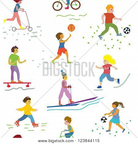 People and sport seamless pattern - funny vector design