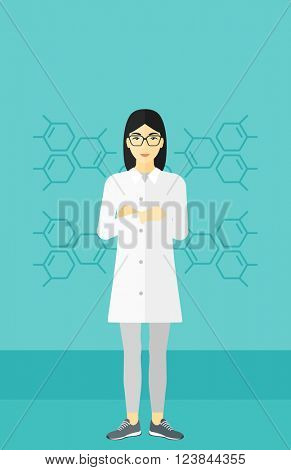 Female laboratory assistant.