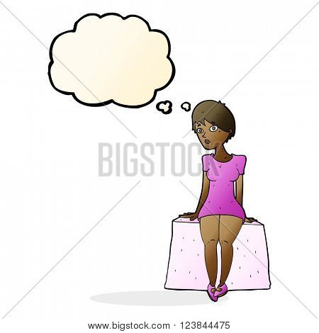 cartoon curious woman sitting with thought bubble