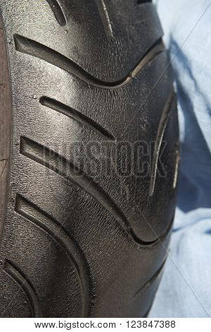 close up of a black motorcycle tire