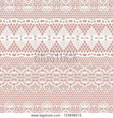 Lace white seamless pattern. Lace pattern with stripes. Vector illustration.