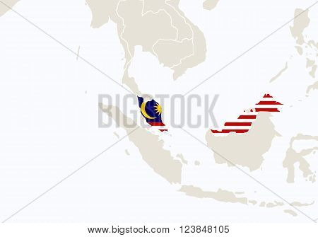 Asia With Highlighted Malaysia Map.