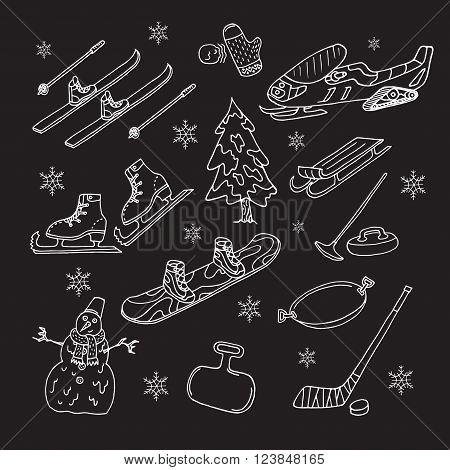 Winter games on black background. Doodle set. Isolated. Vector