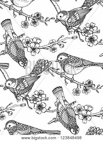 Seamless Pattern With  Hand Drawn Ornate Birds On Sakura Flower Branches.