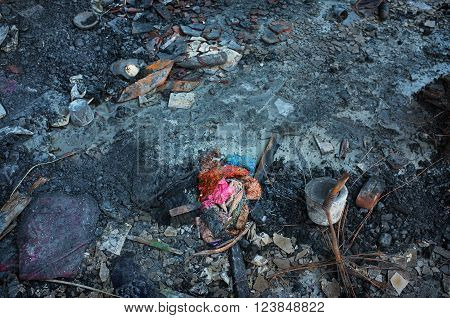 BALI INDONESIA - March 25 2016: Fire damage after a serious blaze caused by an electrical short-circuit razed a popular tourist market on March 25 2016 in Ubud Bali Indonesia.