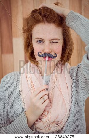 Hipster wearing a fake mustache on wooden background