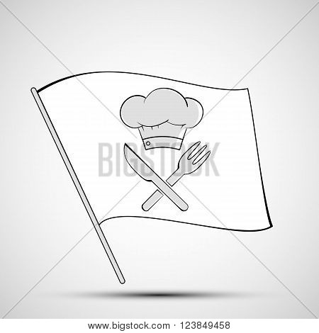 Icon chef hat knife and fork on a white flag. Stock vector illustration.