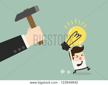 Hand breaking light bulb. Concept Cartoon Illustration.