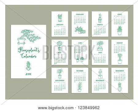 Calendar houseplants of 2016. Vector illustration. Isolated