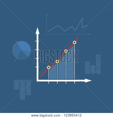 Chart  , Graphic Success, Icon Graph Growth, Line Style Design,  Vector Illustration