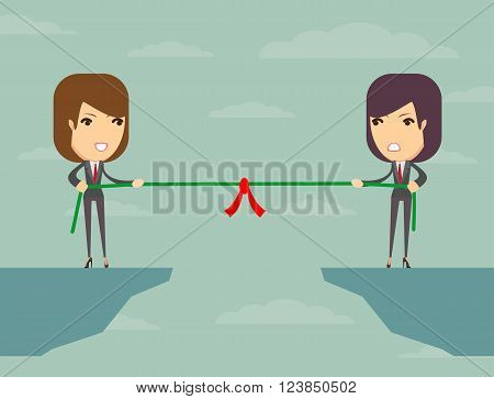 Business people pull the rope over the abyss, someone who, business concept, vector illustration