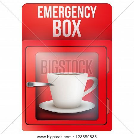 Red emergency box with cup of coffee. Vector Illustration isolated on white background.