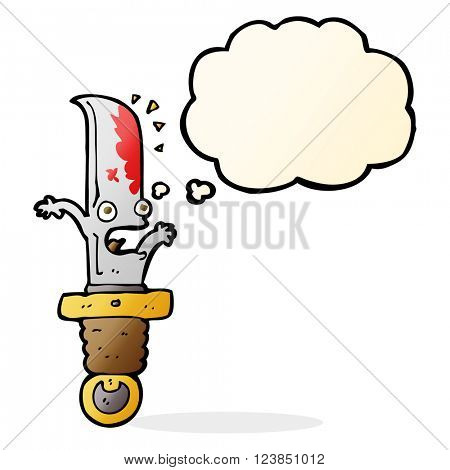 cartoon frightened knife with thought bubble