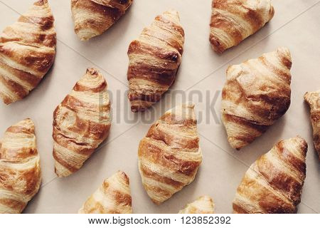 Delicious croissants on the table