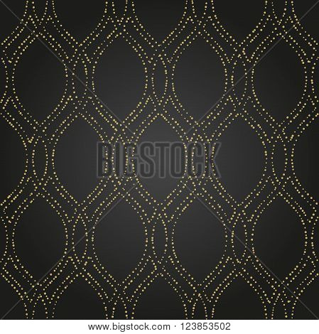 Seamless vector black and golden ornament. Modern geometric pattern with repeating dotted wavy lines