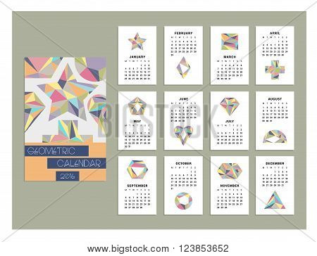 Trendy calendar 2016. Geometric figures. Vector. Isolated.