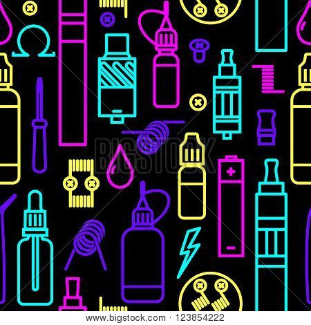 Vector seamless pattern for vape shop and vape service, e-cigarette store, isolated on black background