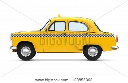 Vintage Yellow Taxi isolated on white background. 3D render