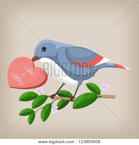Bird holding heart wedding invitation. Vector illustration EPS10
