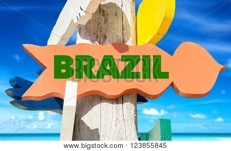 Brazil signpost with beach background