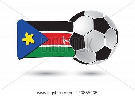 Soccer Ball And South Sudan Flag With Colored Hand Drawn Lines
