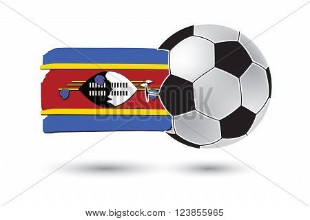 Soccer Ball And Swaziland Flag With Colored Hand Drawn Lines