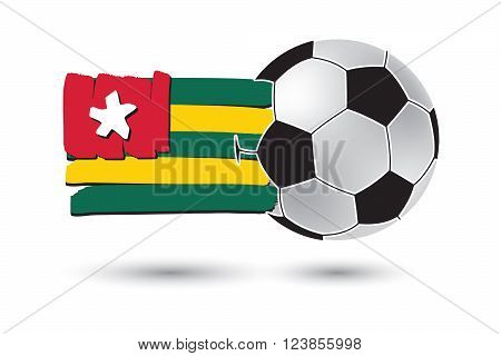 Soccer Ball And Togo Flag With Colored Hand Drawn Lines