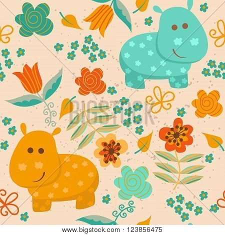 Seamless pattern with cute hippo and flowers. Children background for your design. Vector illustration.
