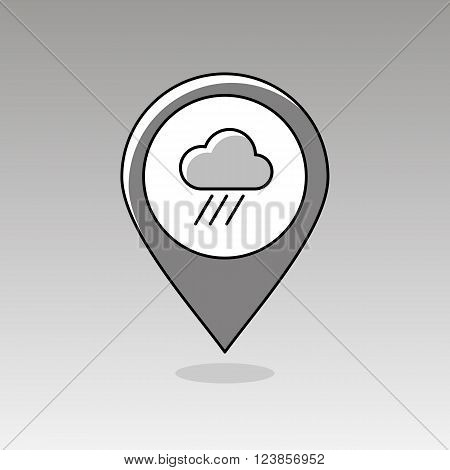 Rain Cloud outline pin map icon. Map pointer. Map markers. Downpour rainfall. Weather. Vector illustration eps 10