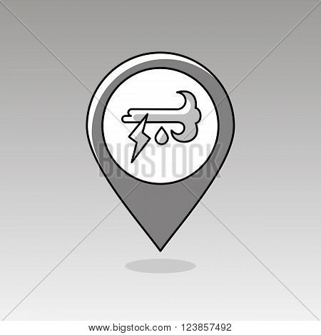 Wind Rain Lightning outline pin map icon. Map pointer. Map markers. Meteorology. Weather. Vector illustration eps 10