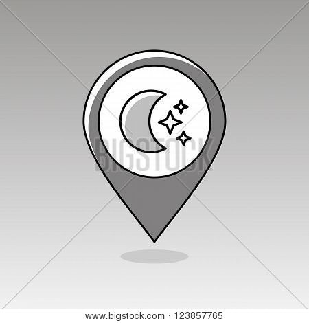 Moon and stars outline pin map icon. Map pointer. Map markers. Sleep night dreams symbol. Meteorology. Weather. Vector illustration eps 10