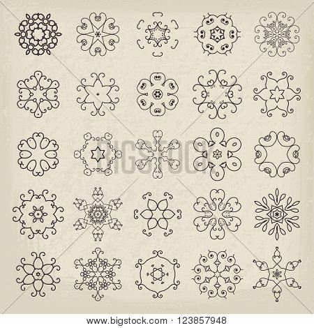 Lineart circular mandalas set. Vector arabic geometric symbols
