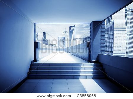 A corridor leads to modern metropolis exaggerated expressions.