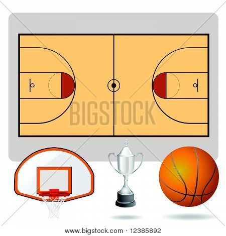 basketball field  ball and objects
