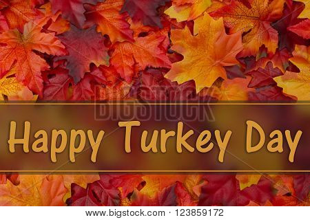 Happy Turkey Day  Greeting, Fall Leaves Background and text Happy Turkey Day