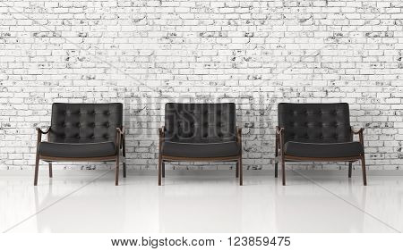 Black Armchairs Against Of Brick Wall  3D Rendering
