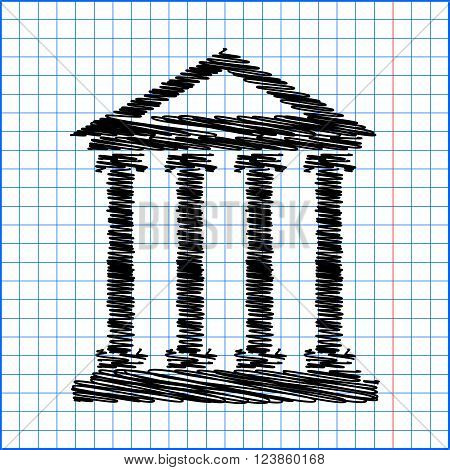 Historical building icon, vector illustration. Flat design style with pen effect on paper.