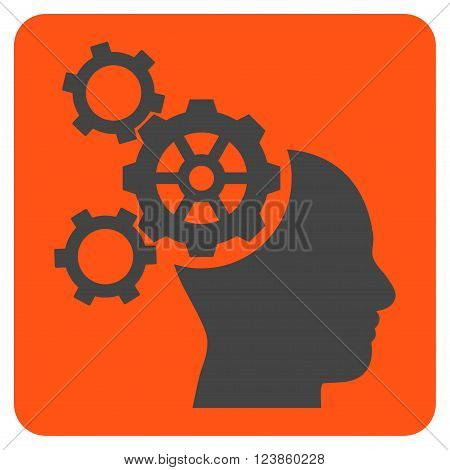 Brain Mechanics vector icon symbol. Image style is bicolor flat brain mechanics pictogram symbol drawn on a rounded square with orange and gray colors.