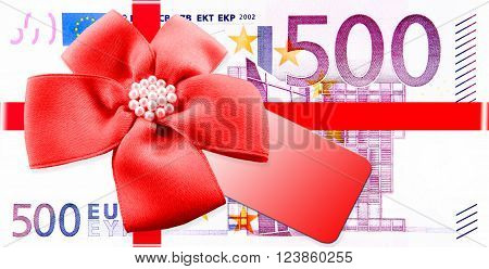 500 euro sham with red bow as a gift