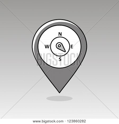 Compass wind rose outline pin map icon. Map pointer. Map markers. Direction southeast. Meteorology. Weather. Vector illustration eps 10