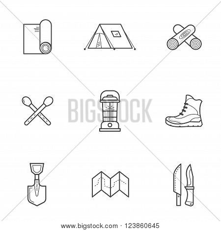 Set of vector illustrations for camping, traveling, hiking. This is a basic tourist equipment necessary for survival in the wild