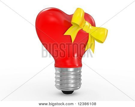 3D Glass Heart Shape Lamp Bulb