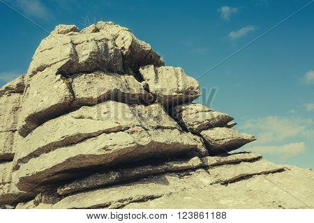 Detail of karst rocks in the mountain.