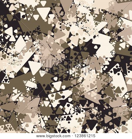 Abstract Brown Military Camouflage Background. Pattern of Geometric Triangles Shapes for Army Clothing