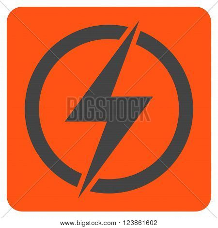 Electricity vector pictogram. Image style is bicolor flat electricity icon symbol drawn on a rounded square with orange and gray colors.