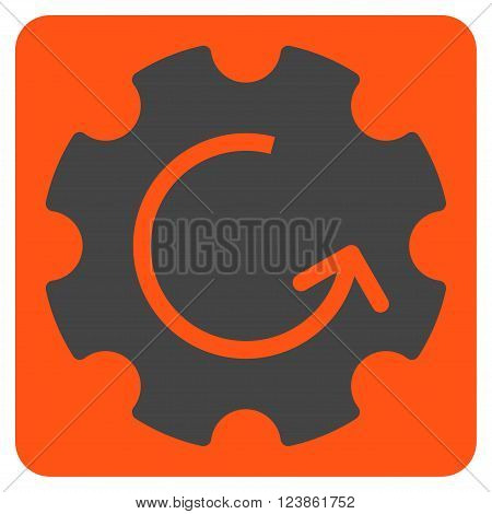 Gear Rotation vector icon symbol. Image style is bicolor flat gear rotation iconic symbol drawn on a rounded square with orange and gray colors.